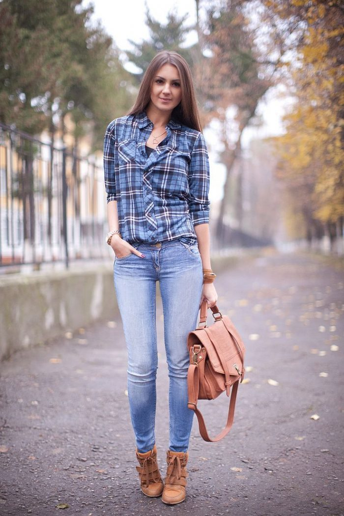 2018 Plaid Print Shirts For Women (1)