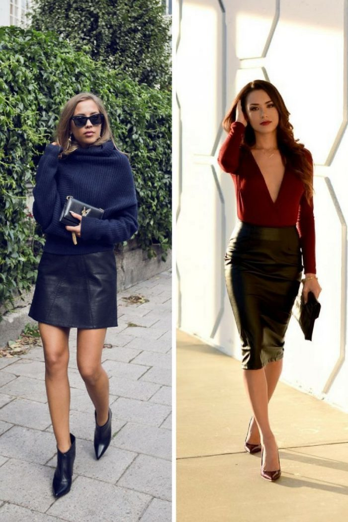 Black Leather Skirts To Work And On The Streets 2019