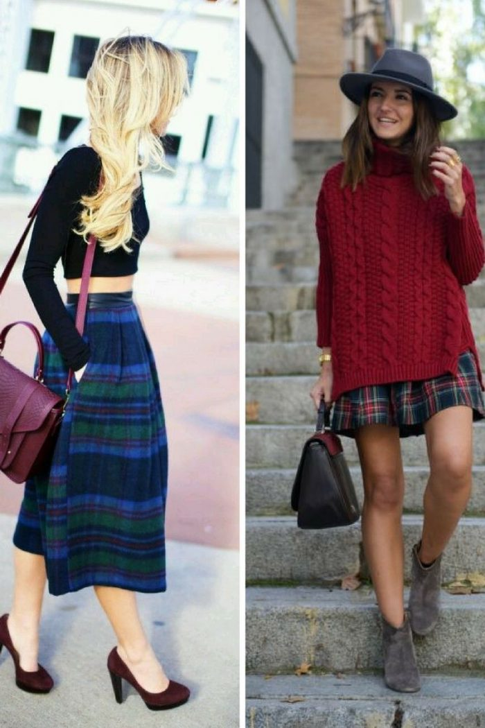 Plaid Skirts 2018 Simple Street Style (1)