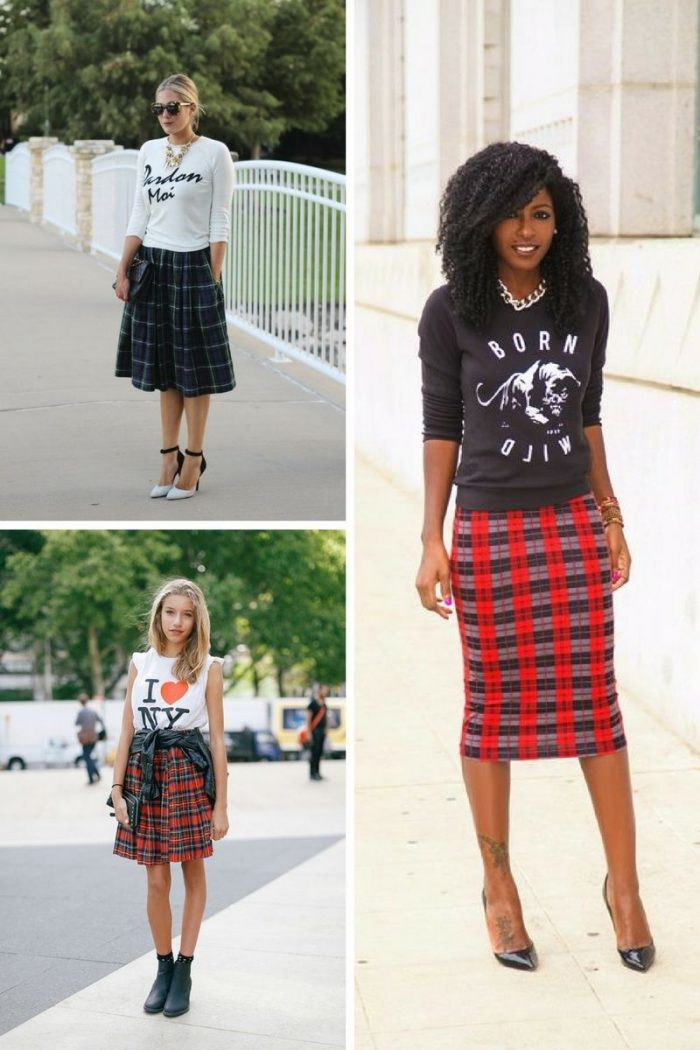 Plaid Skirts 2018 Simple Street Style (4)
