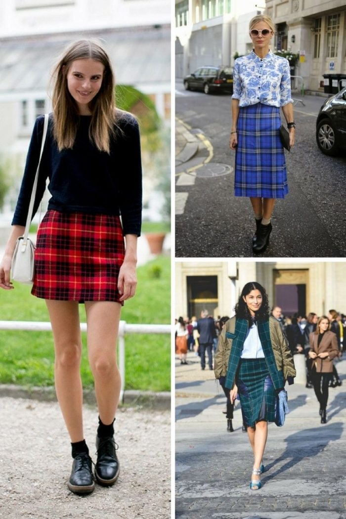 Plaid Skirts 2018 Simple Street Style (6)