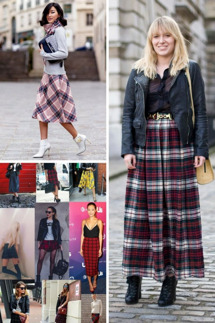 Plaid Skirts 2018 Simple Street Style (7)