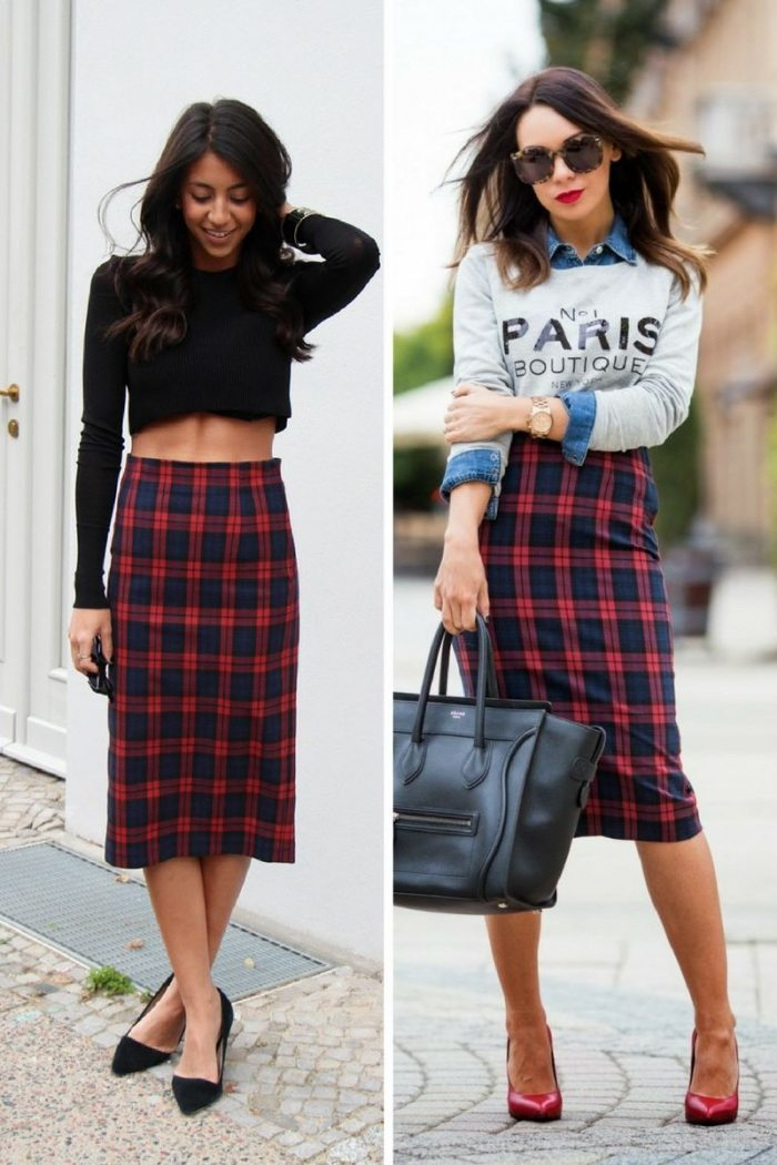 Plaid Skirts 2018 Simple Street Style (8)