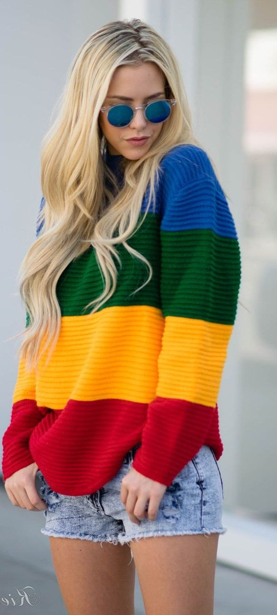 Rainbow stripes Print For Women 2018 (11)