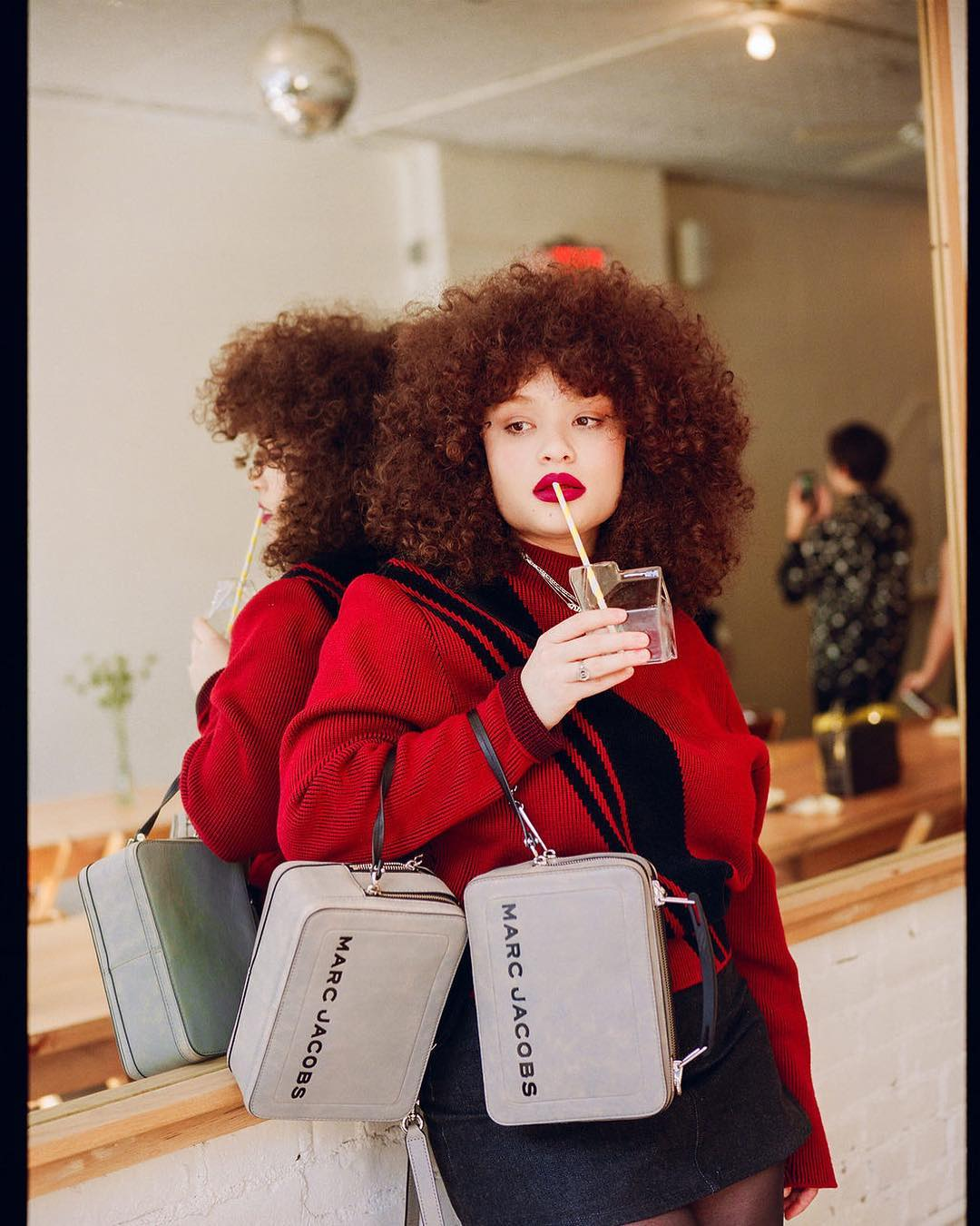 Fall Essentials: Red Sweater And Denim Mini Skirt 2020