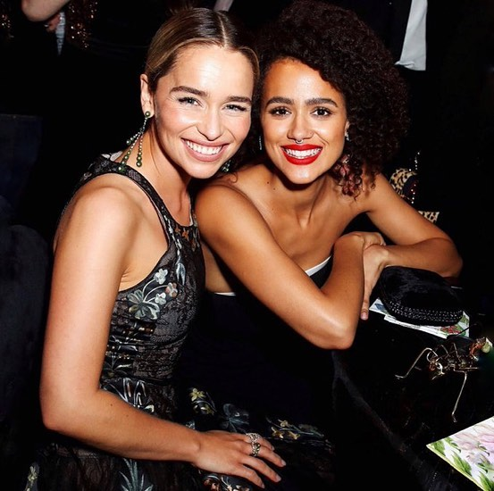 Emilia Clarke With Nathalie Emmanuel At HBO Party 2019