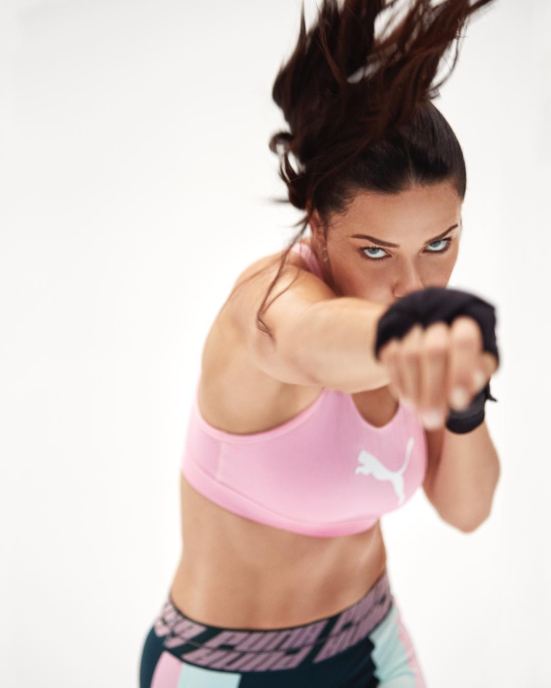 Adriana Lima Wearing Activewear: Pink Bra Top And Sporty Leggings 2021