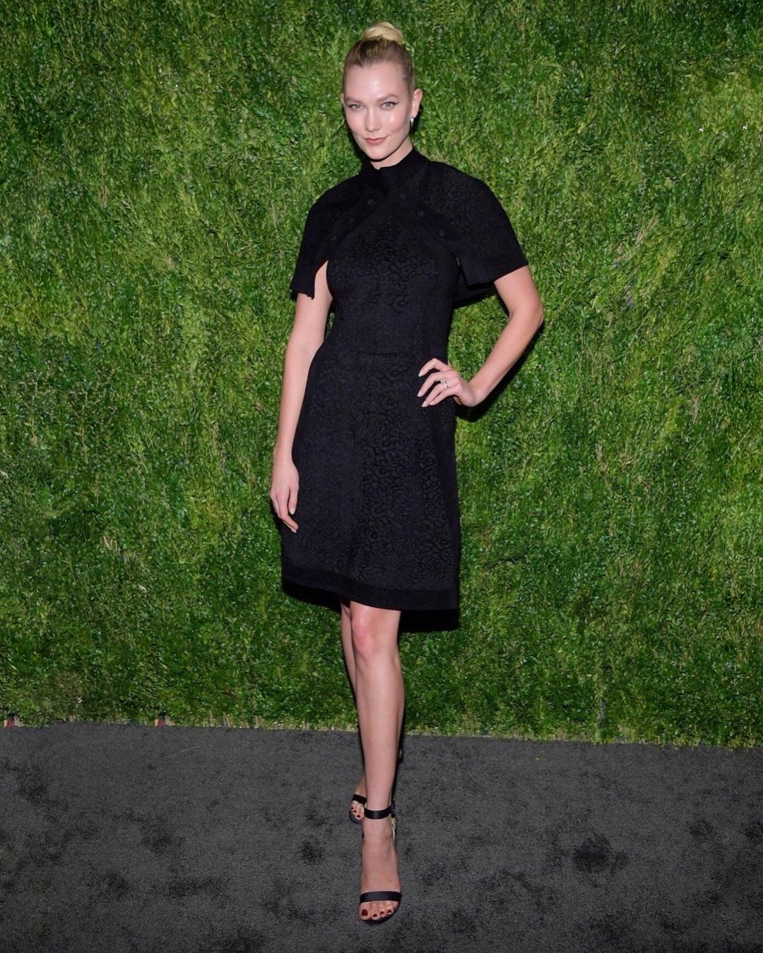 Karlie Kloss Wearing Black Bolero Dress By Brandon Maxwell 2019
