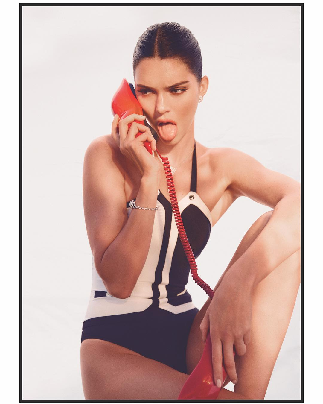 Kendall Jenner With Mid Part Sleek Back Hair In CHAOS SIXTY NINE Magazine 2021