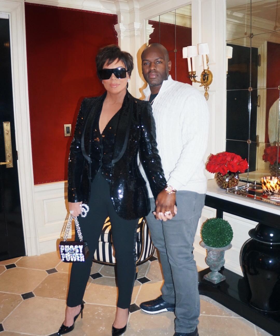 Kris Jenner Wearing Black Sequined Blazer, Black Pants And Black Sunglasses 2020