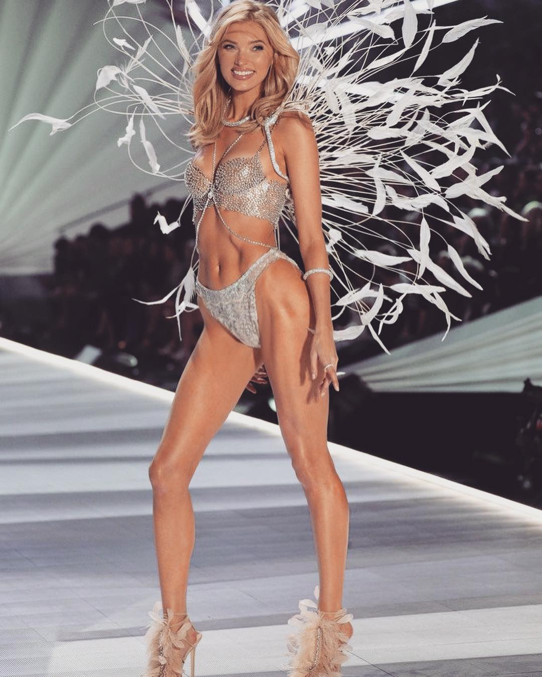 Elsa Hosk Wearing Glamour Victoria's Secret Lingerie During The Show 2019