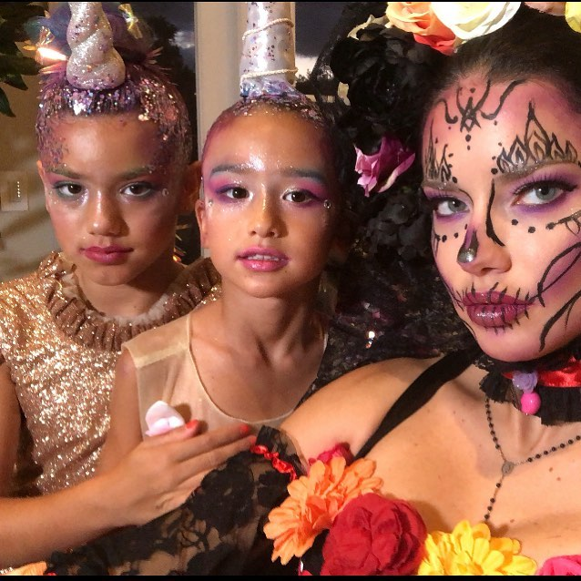 Adriana Lima With Her Family In Mexican Mask Makeup For