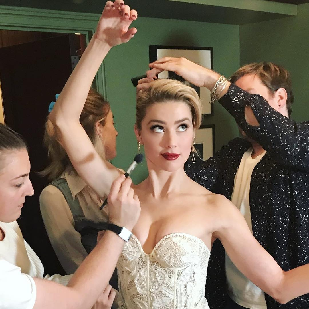 Amber Heard Wearing White Lace Corset And Hair Updo 2021
