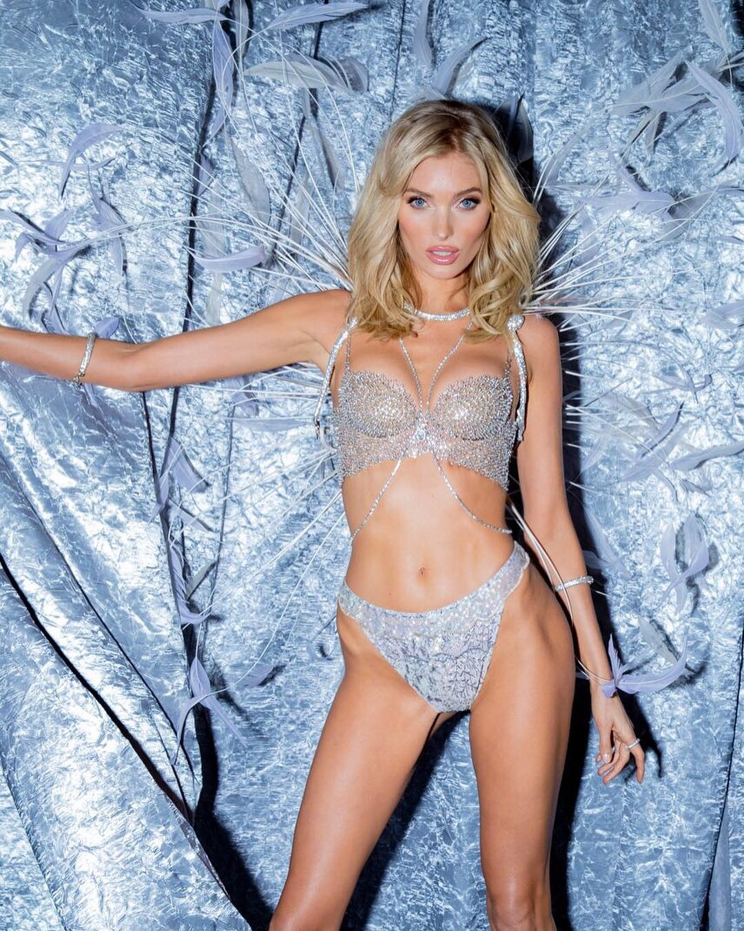 Elsa Hosk Wearing Crystal Embroidered Pearl White Lingerie In Victoria's Secret 2019