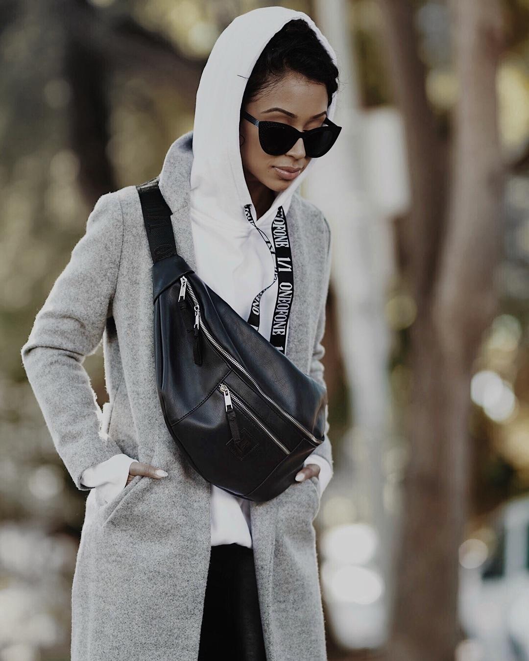 3f526bf40 Liza Koshy Wearing Gray Coat Over White Hoodie 2019 - StyleFavourite.com