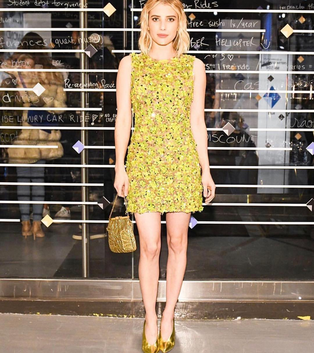 Emma Roberts Wearing Michael Kors Yellow Dress 2020 Stylefavourite Com
