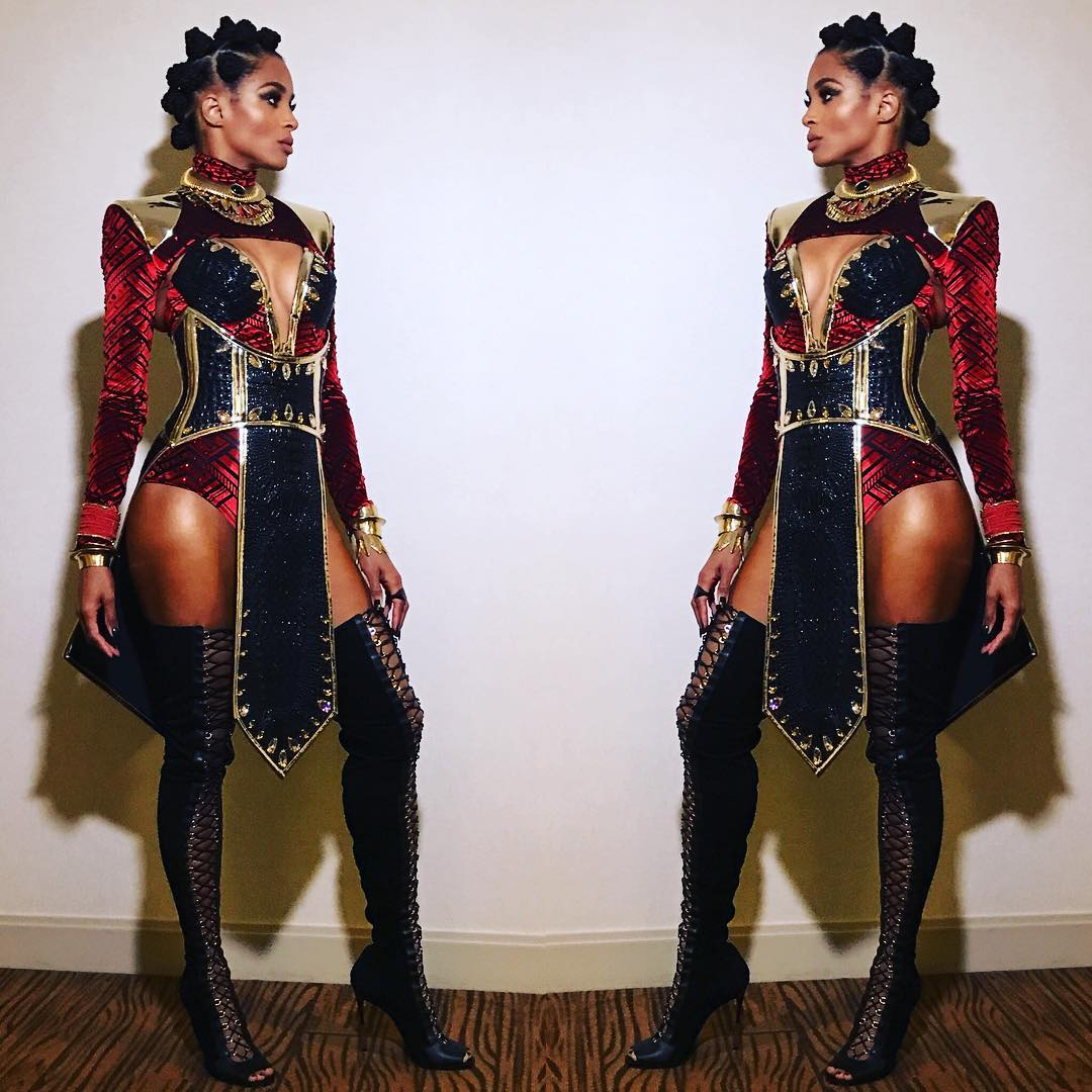 Ciara With Multiple Hair Buns Wearing Wakanda Inspired Outfit For Halloween 2020