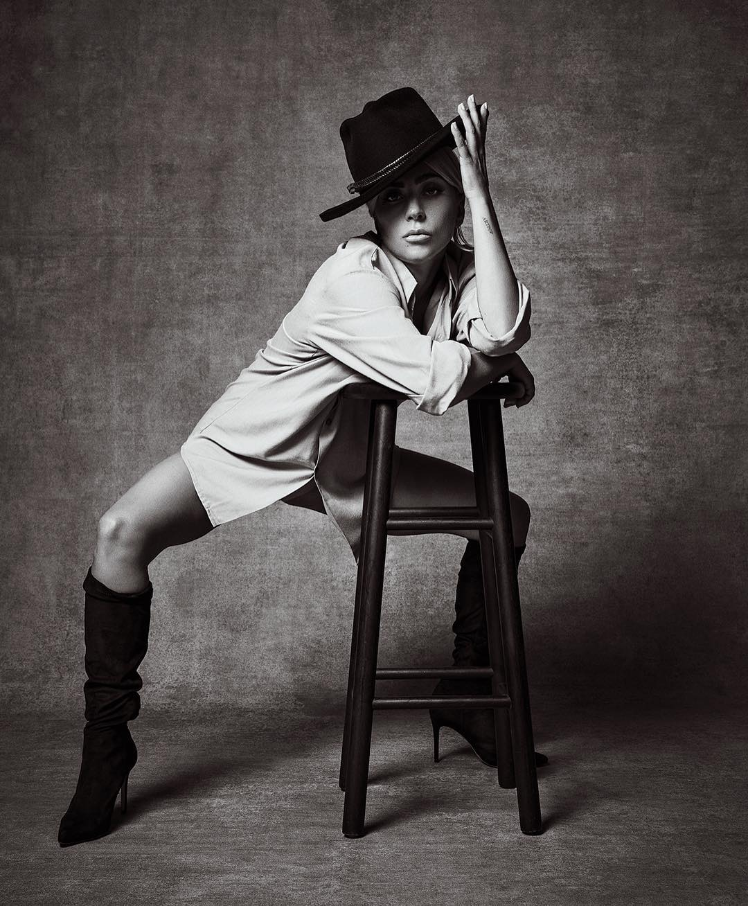 Lady Gaga Wearing White Shirt And Otk Boots In Variety 2020