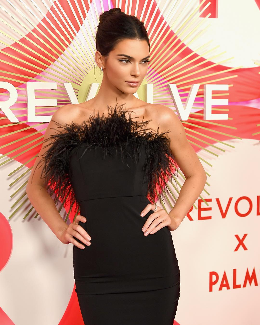 Image result for kendall jenner feather dress