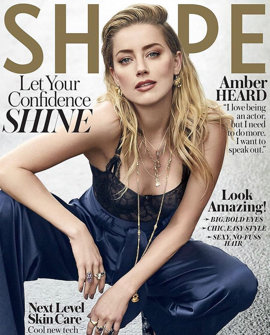 Amber Heard Wearing Lace Bodysuit And Silk Pants For Shape Cover 2021