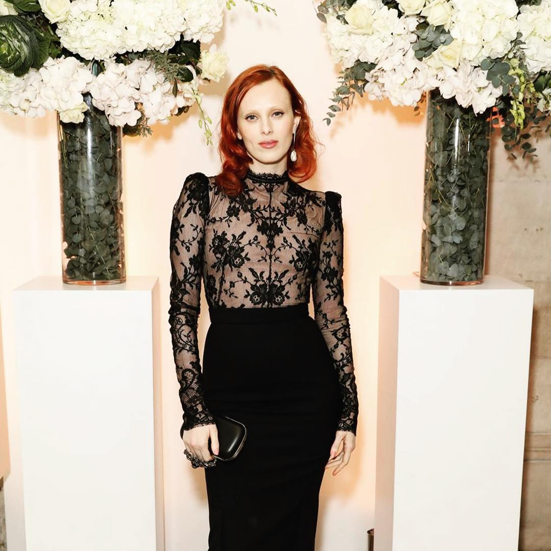 Karen Elson Wearing Black Dress By Alexander McQueen 2020