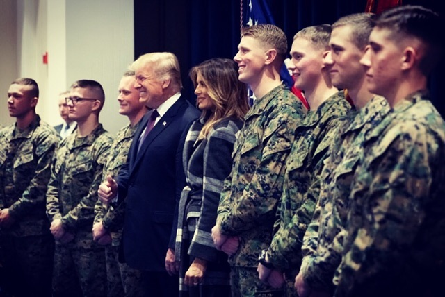 First Lady Melania Trump Wearing A Plaid Wool Belted Coat At Marine Barracks 2021