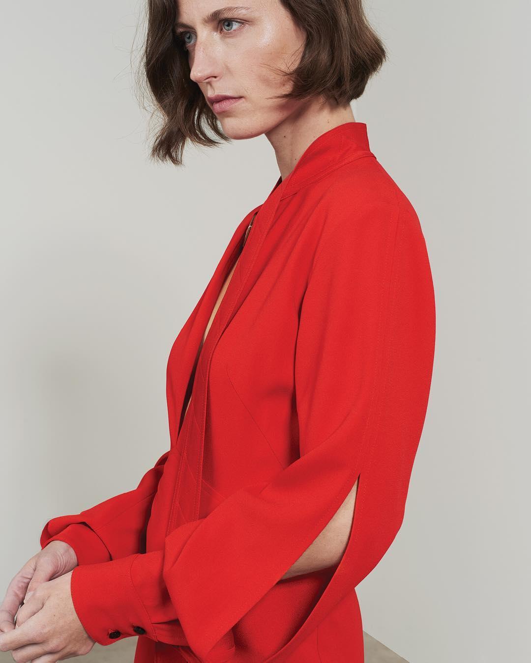 Slash Front Midi Dress In Red By Victoria Beckham 2021