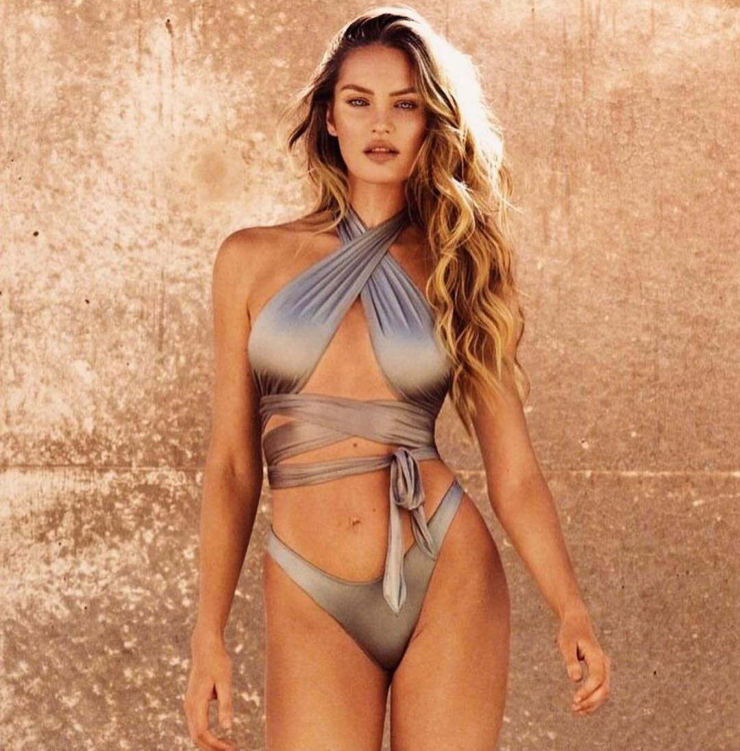 Metallic Wrap Halter Bikini On Candice Swanepoel By TropicofC 2020