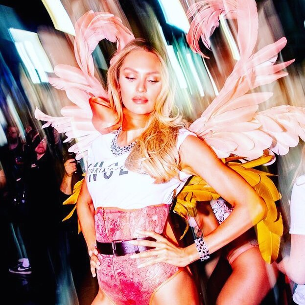 Candice Swanepoel Wearing Victoria's Secret Corset Panties With A Simple Tee 2020