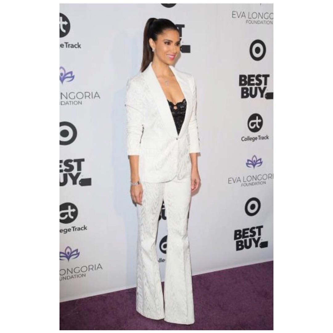 Roselyn Sanchez With Sleek Ponytail Wearing White Pantsuit 2019