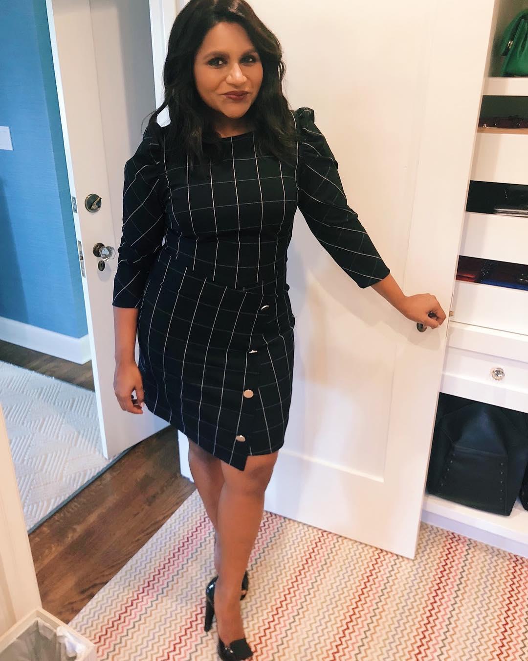 Mindy Kaling Wearing Windowpane Dress 2020 Stylefavourite Com