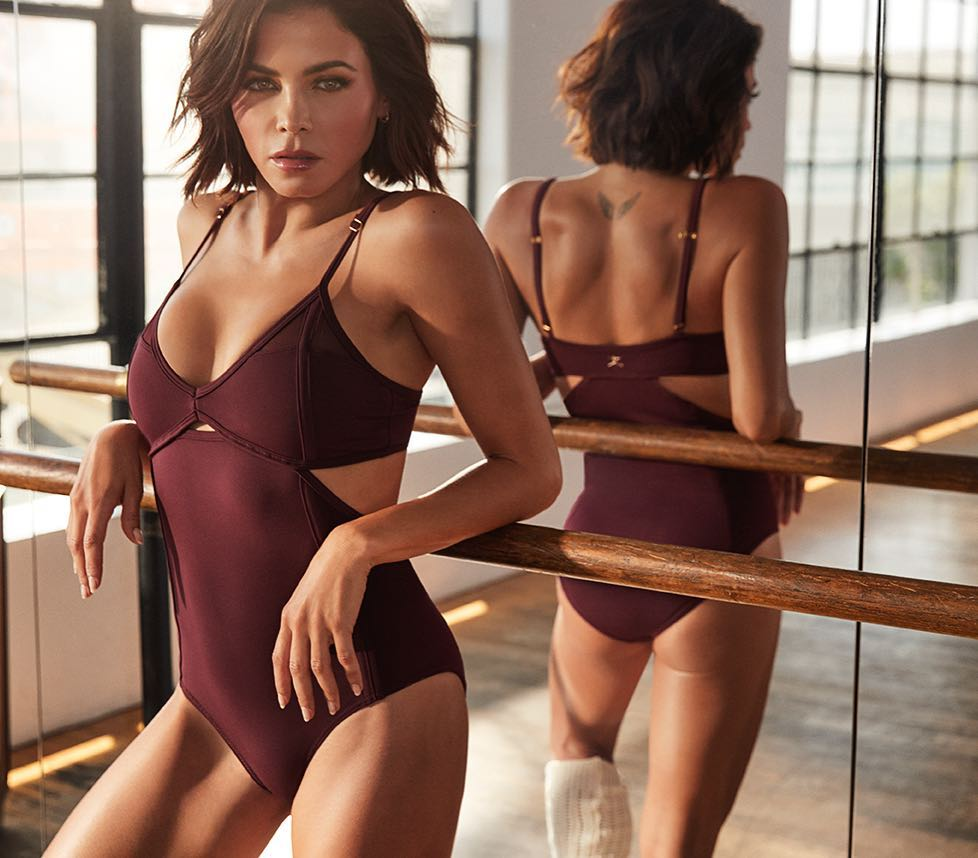 Jenna Dewan Wearing Dark Maroon Active Bodysuit And White High Socks 2020