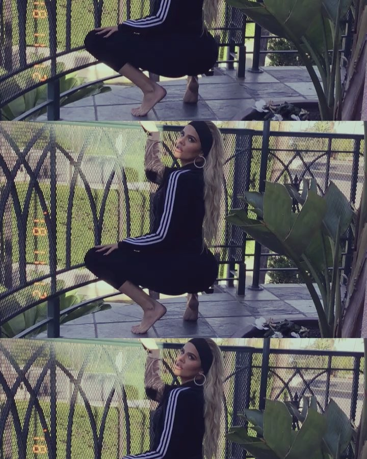Khloé Kardashian Wearing A Black Velvet Tracksuit 2021