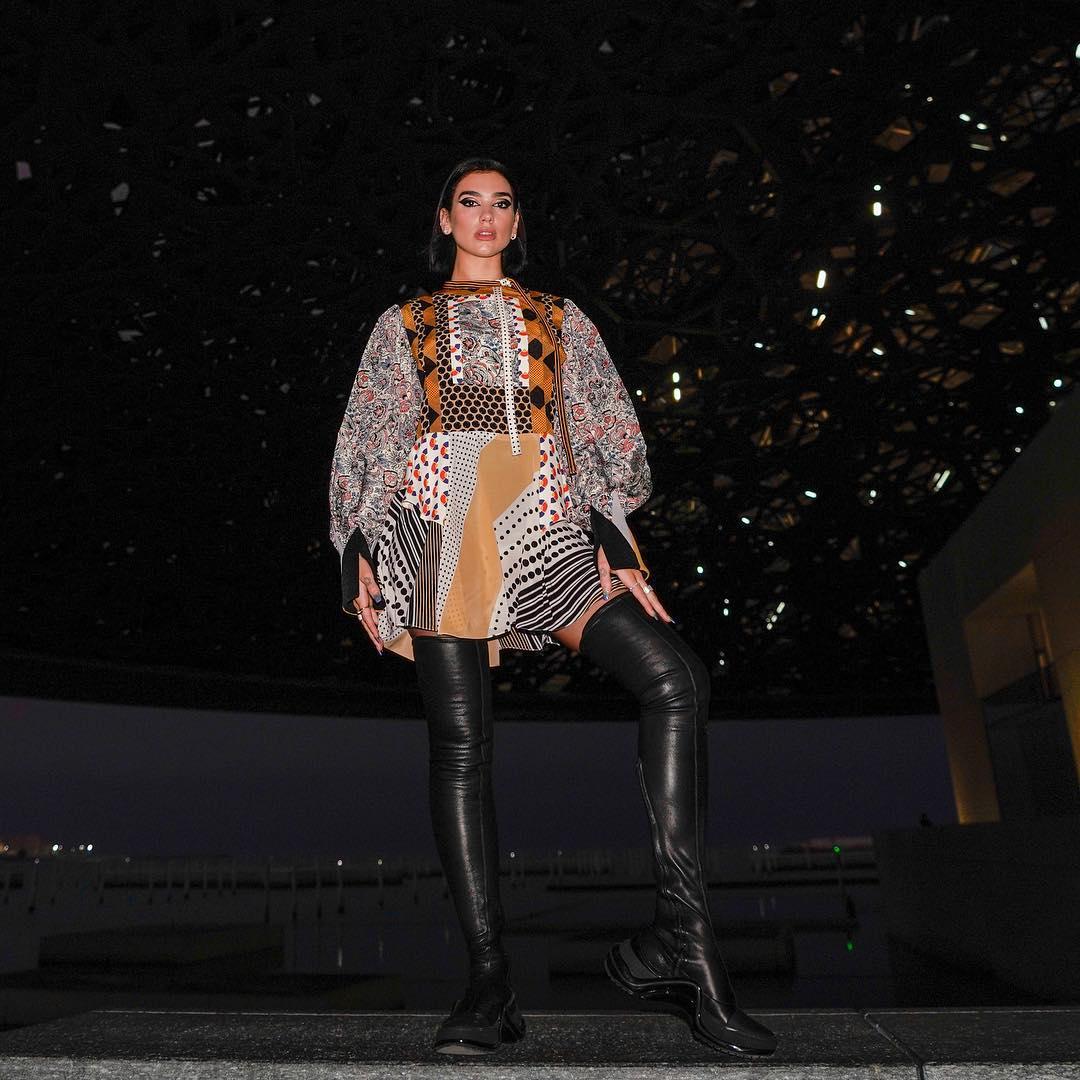 Boho Style Dress And Black Leather OTK Boots On Blua Lipa 2020