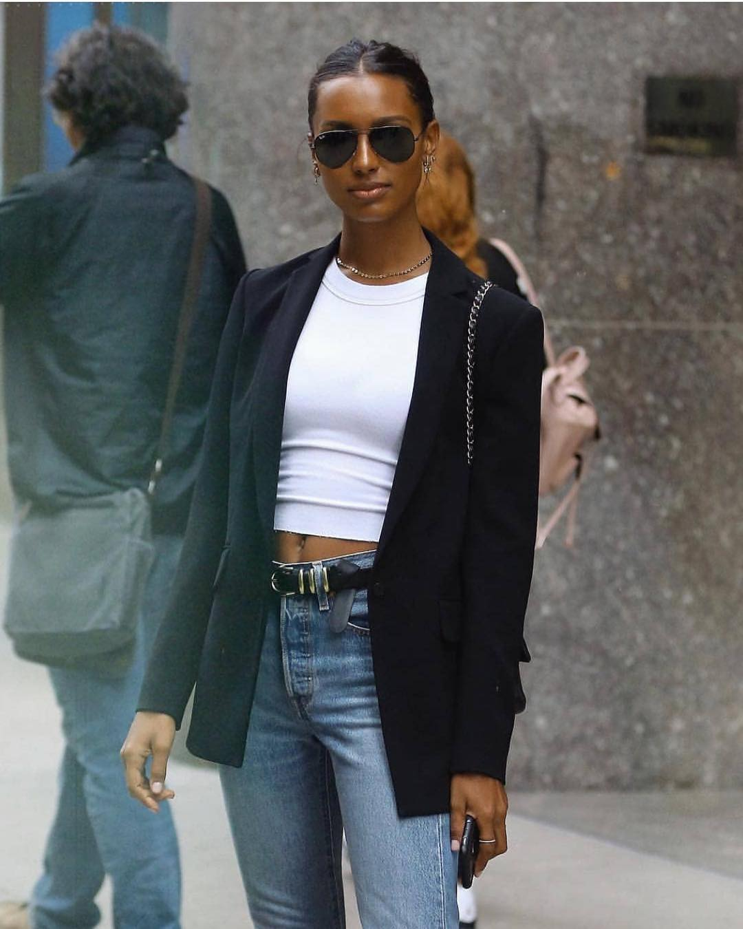 Jasmine Tookes In Black Blazer And White Crop Top 2021