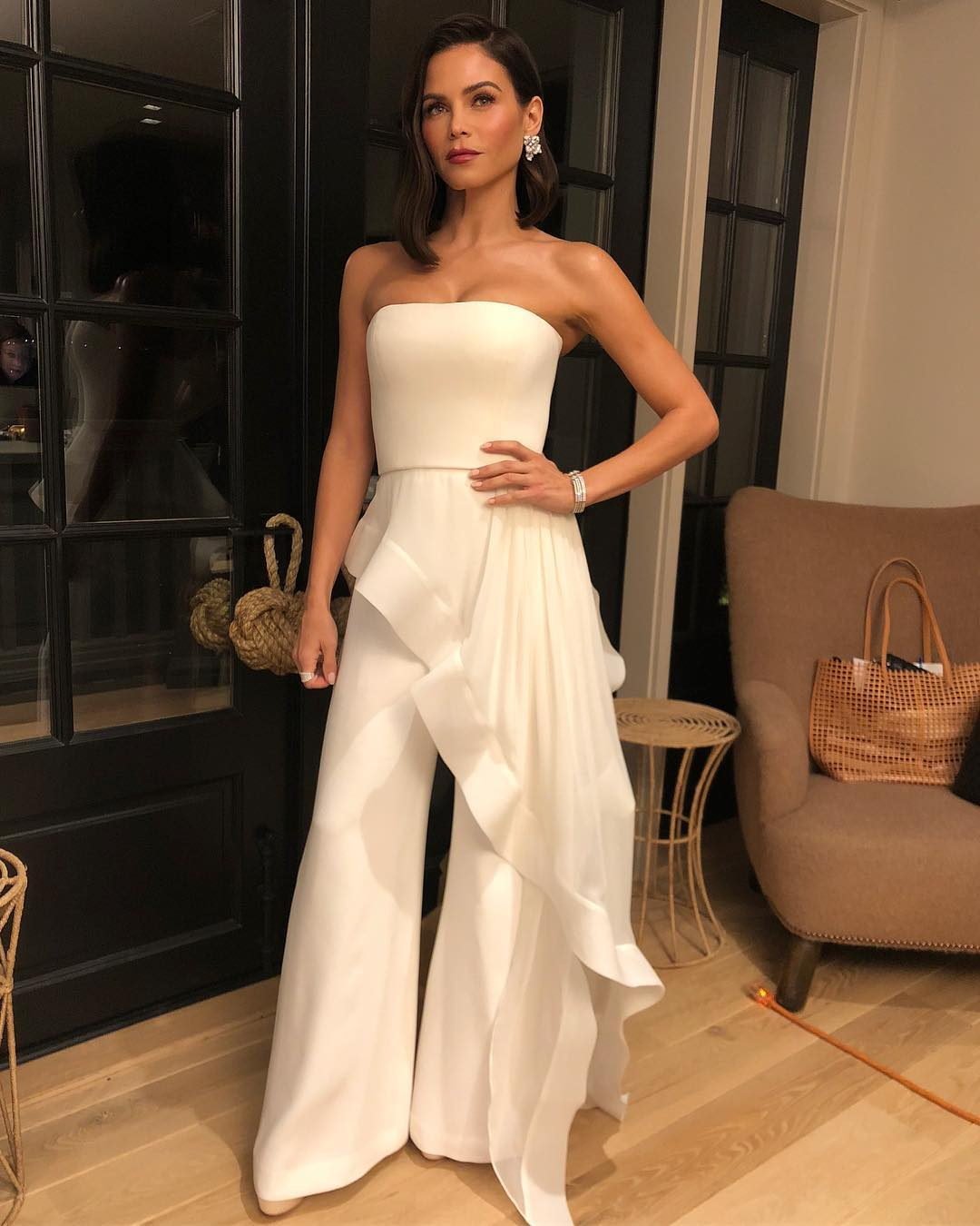 Jenna Dewan Wearing White Evening Strapless Jumpsuit 2019