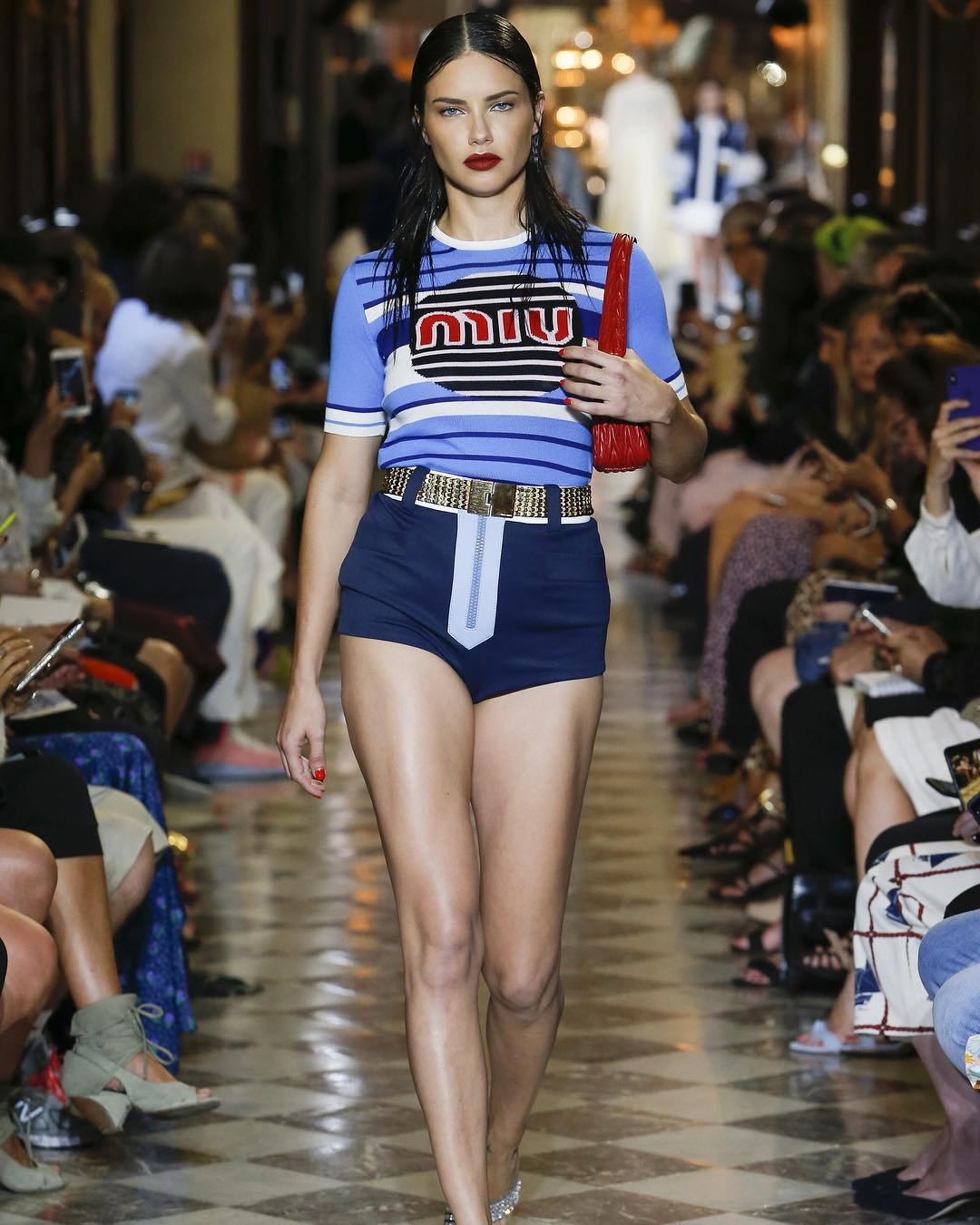 Adriana Lima Walks For Miu Miu Fashion Show 2020