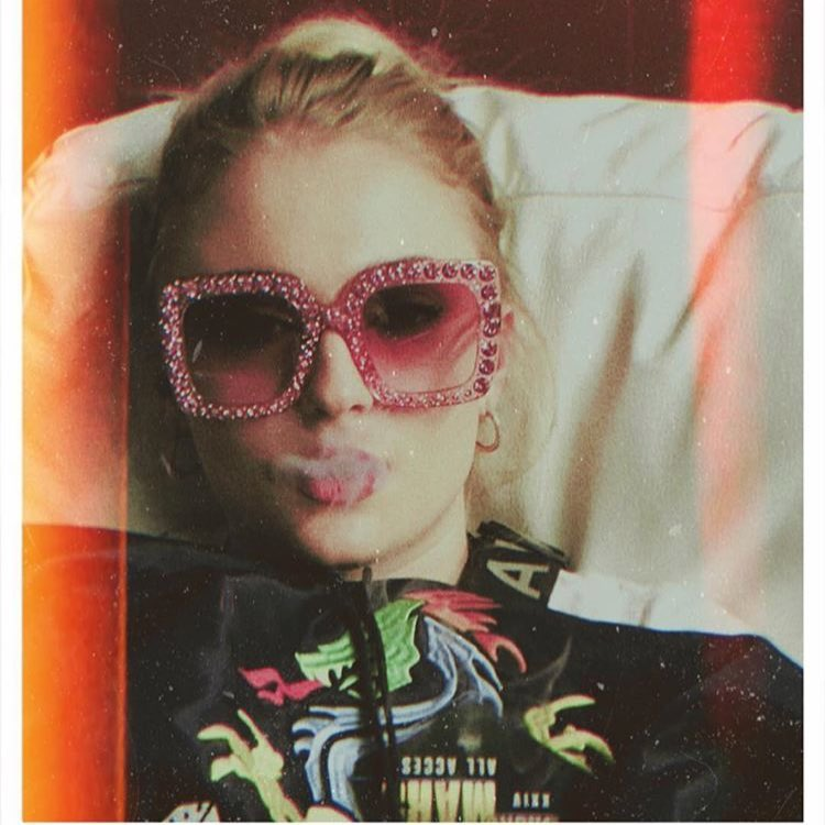 Sophie Turner Wearing Pink Oversized Sunglasses Encrusted With Crystals 2019