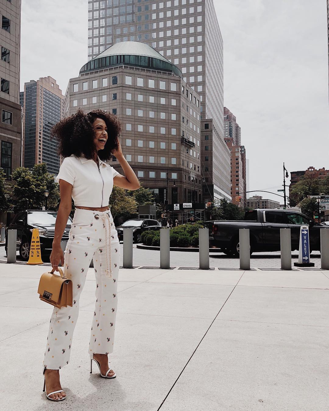 Liza Koshy With Curly Lob Wearing Crop Top And High-Rise Pants 2020
