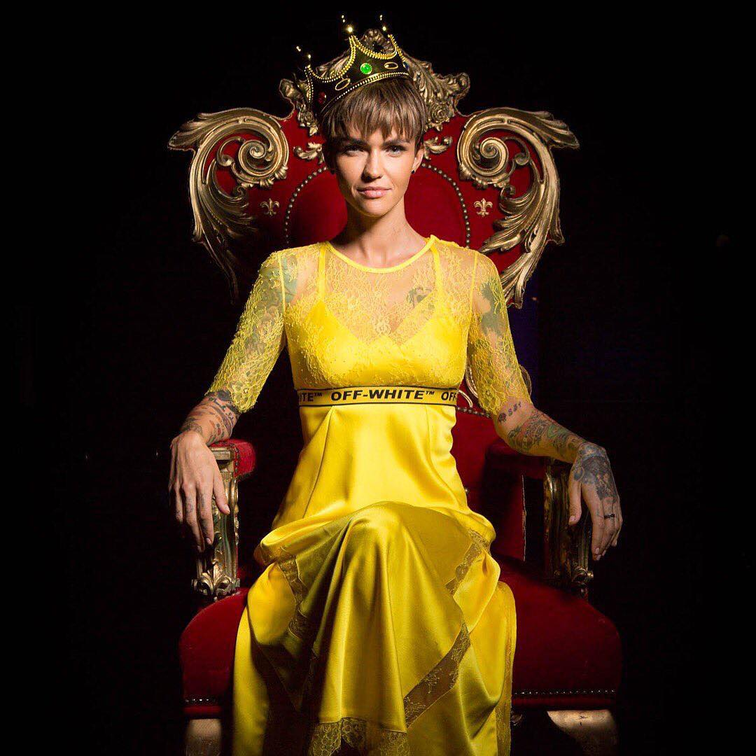 Ruby Rose Wearing Yellow Dress With Lace Sleeves 2021