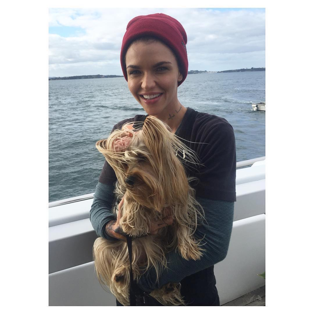 Ruby Rose Wearing Fisherman Beanie With Long Sleeve Top Under T-Shirt 2019