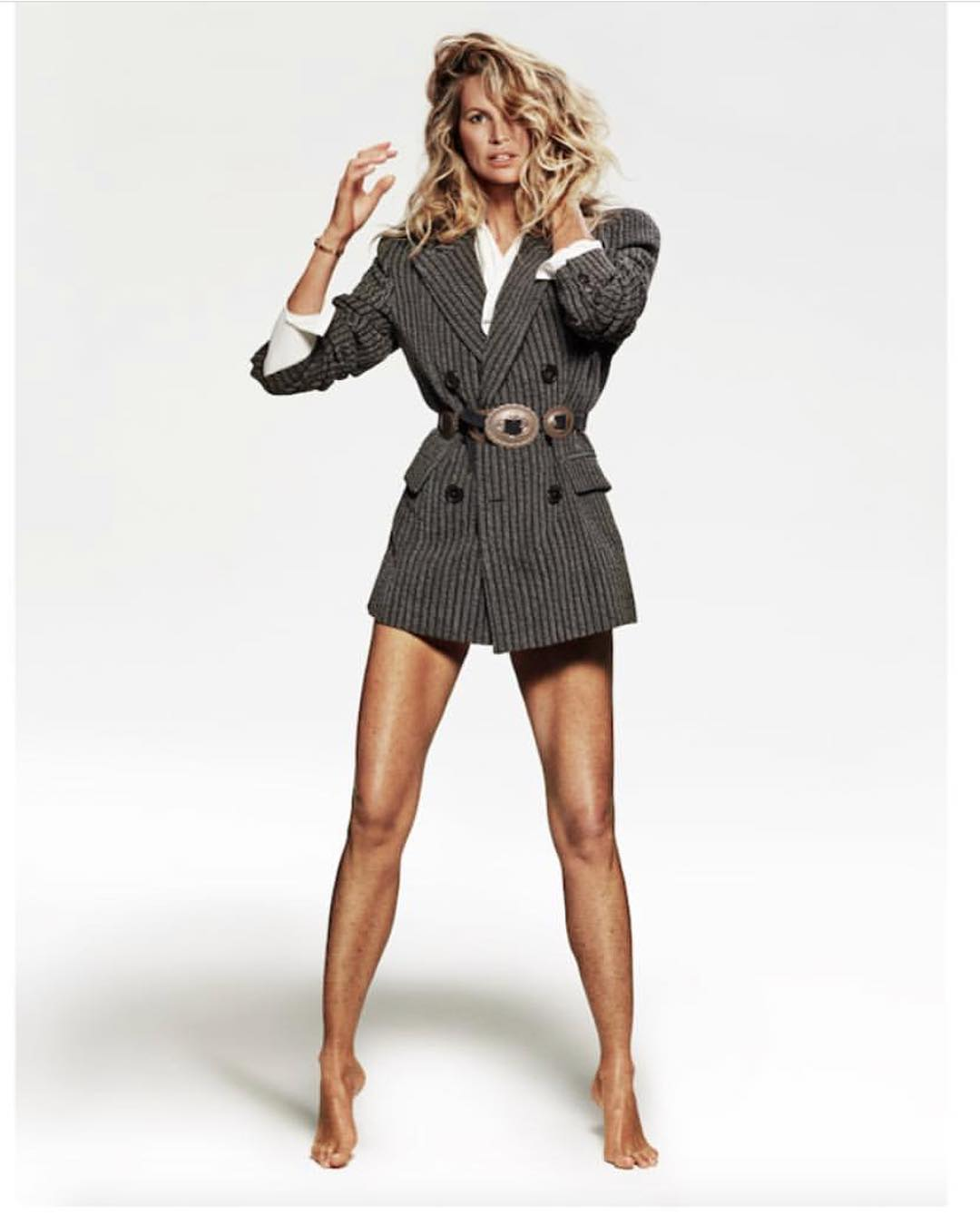Elle Macpherson Wearing Pinstripe Belted Double-Breasted Blazer In Vogue Paris 2019