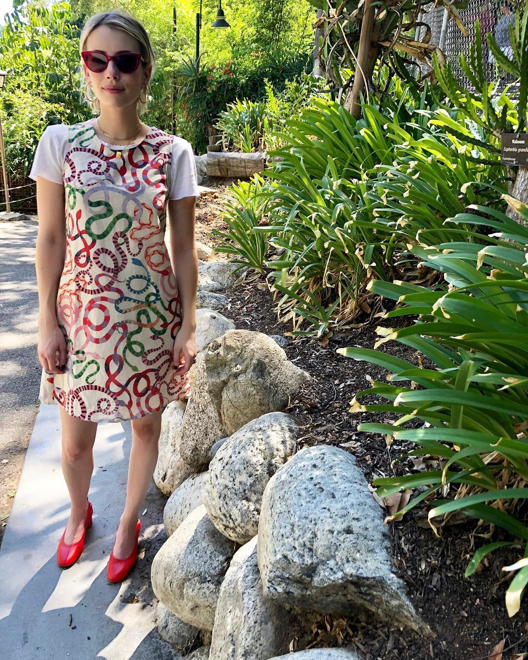 Emma Roberts In Colored Snake Print Dress, Red Pumps And Red Sunglasses 2020