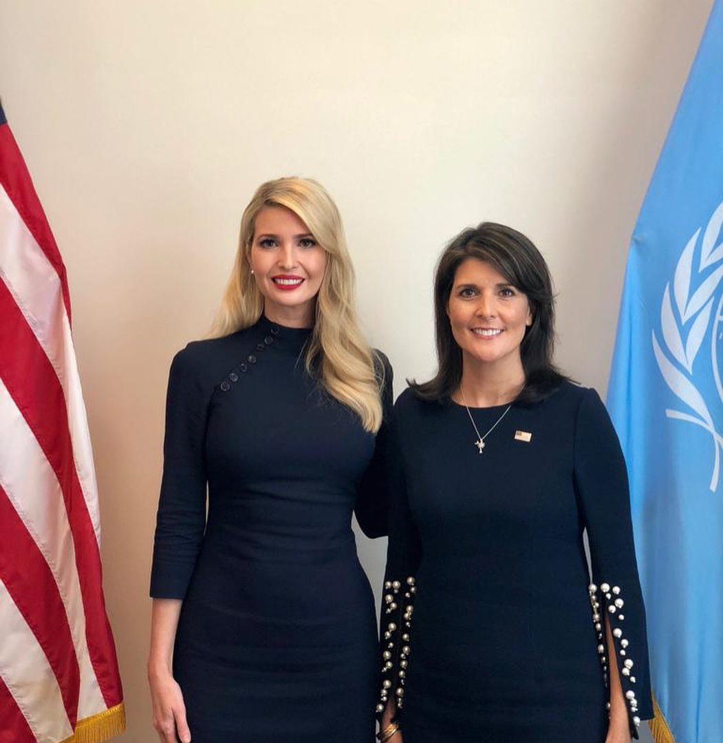 Ivanka Trump Wearing Black Pencil Dress With 3/4 Sleeves 2020