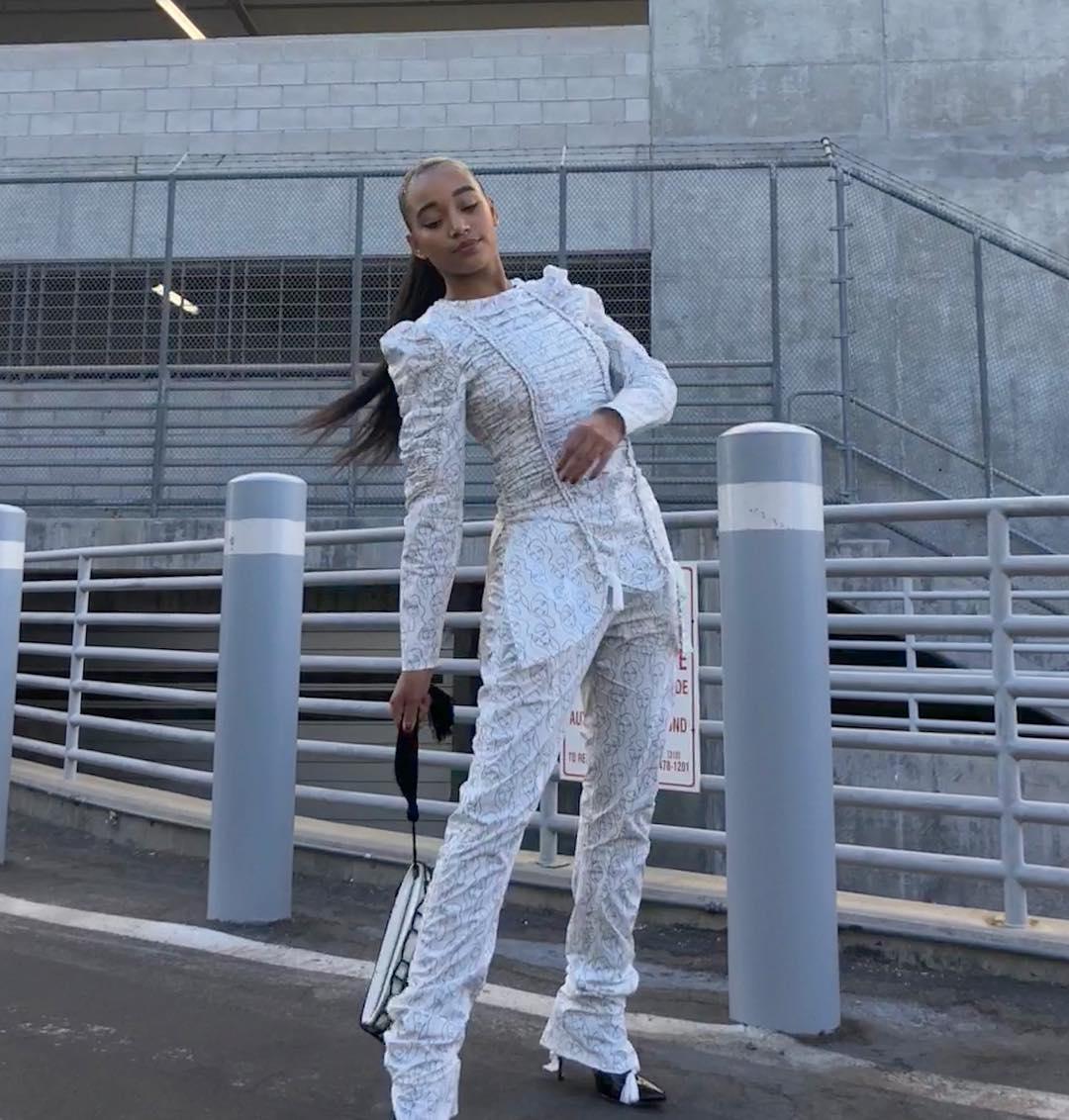 Amandla Stenberg Wearing Silvery Pantsuit 2019