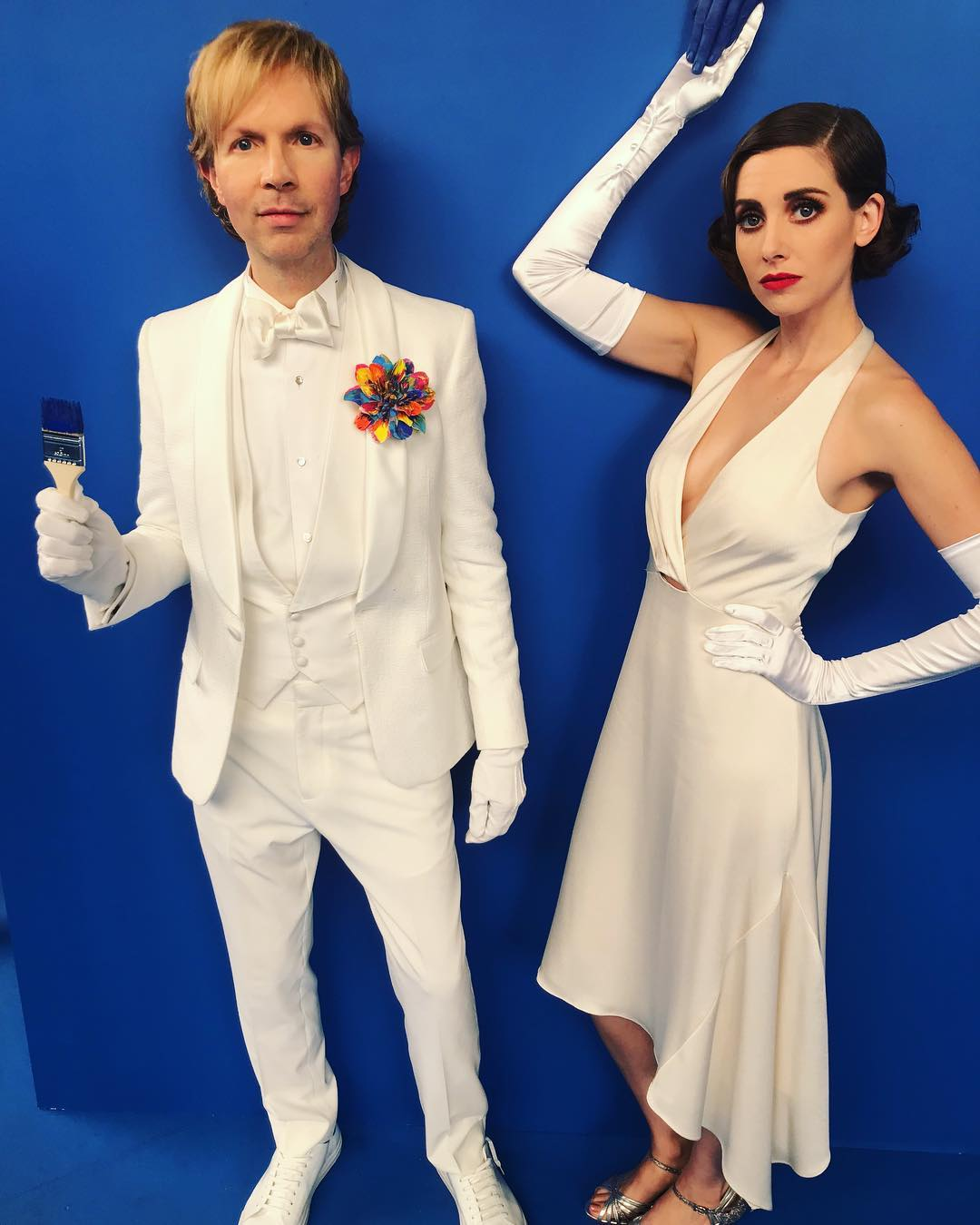 Alison Brie Wearing Halter Strap Wrap Dress In White 2020
