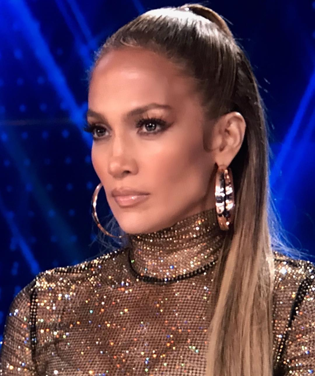 Jennifer Lopez With Sleek Ponytail And Glamour Makeup At NBC World Of Dance 2019