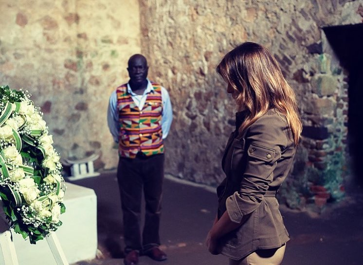 First Lady Melania Trump In Khaki Green Cargo Jacket Visiting Cape Coast Castle 2020