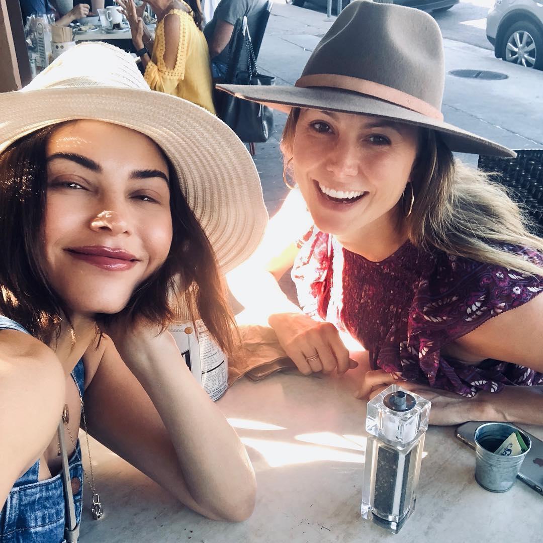 Jenna Dewan Wearing Denim Overalls And Wide Brim Hat 2020