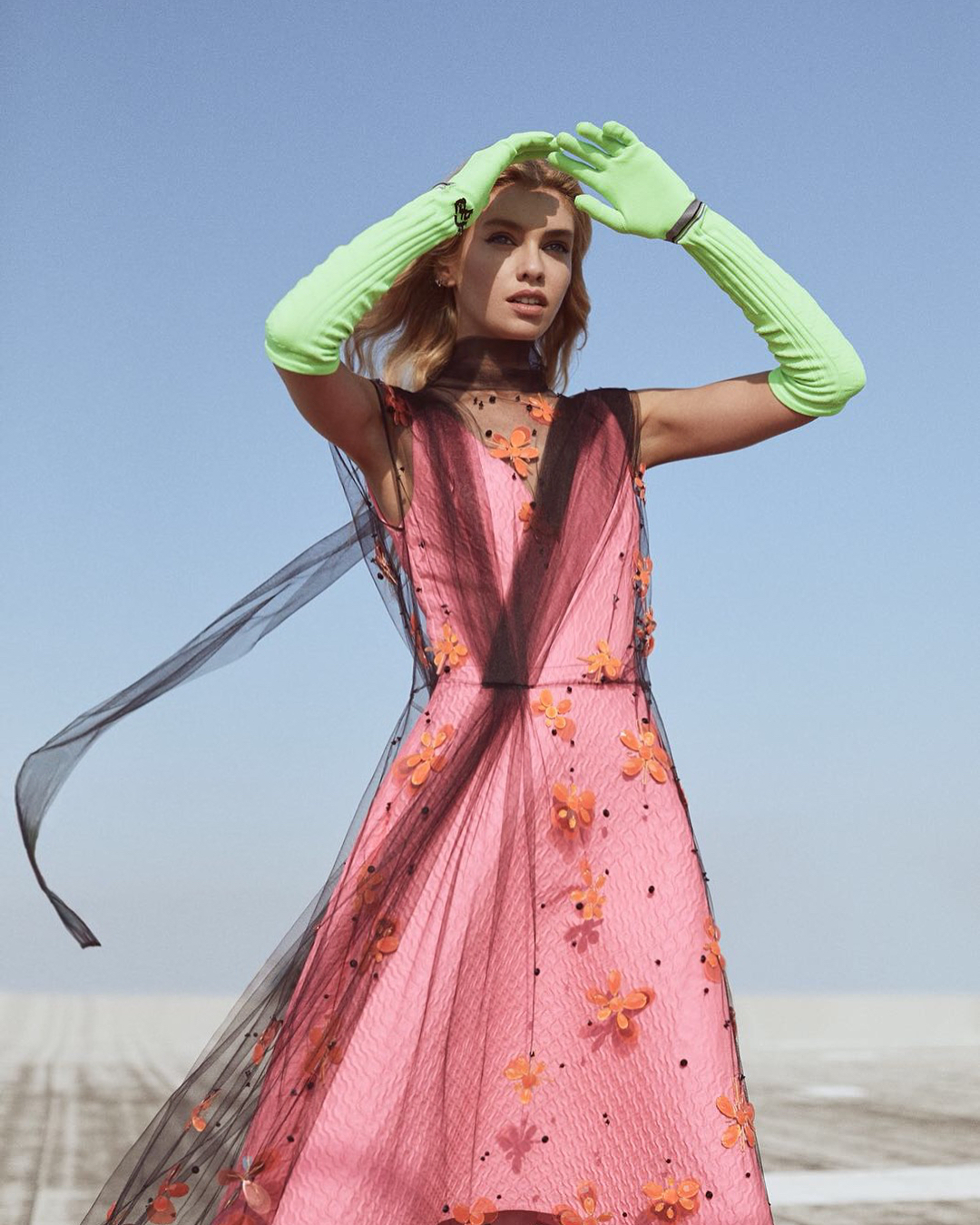 Stella Maxwell Wearing Pink Dress With Light Green Elbow Gloves For Numero Tokio 2019